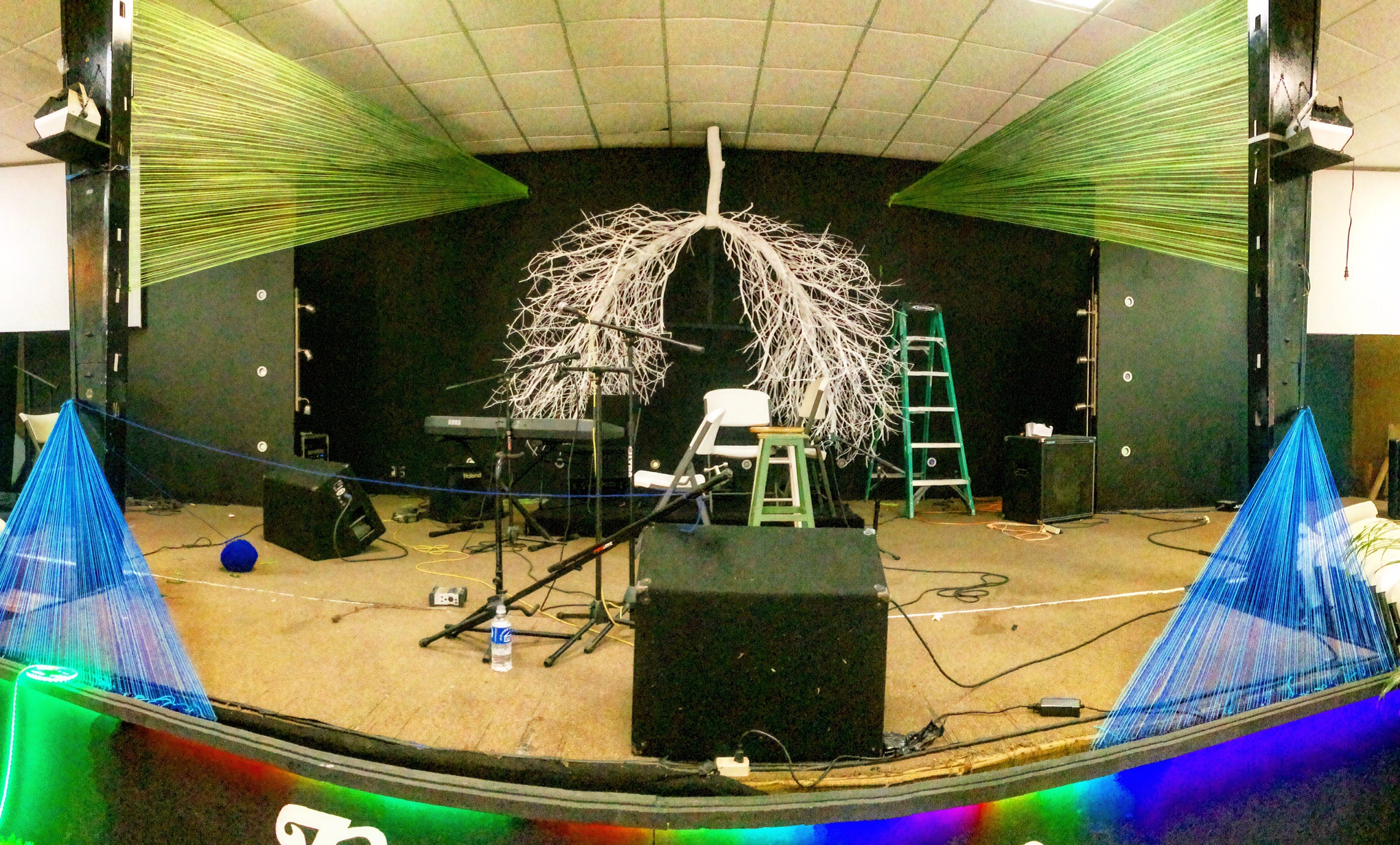 The stage features a ginormous set of lungs made of tree branches. Again, this is a simple and inexpensive concept. Yet it all comes down to execution. What you may not see from the photograph is how many screws are holding this together!
