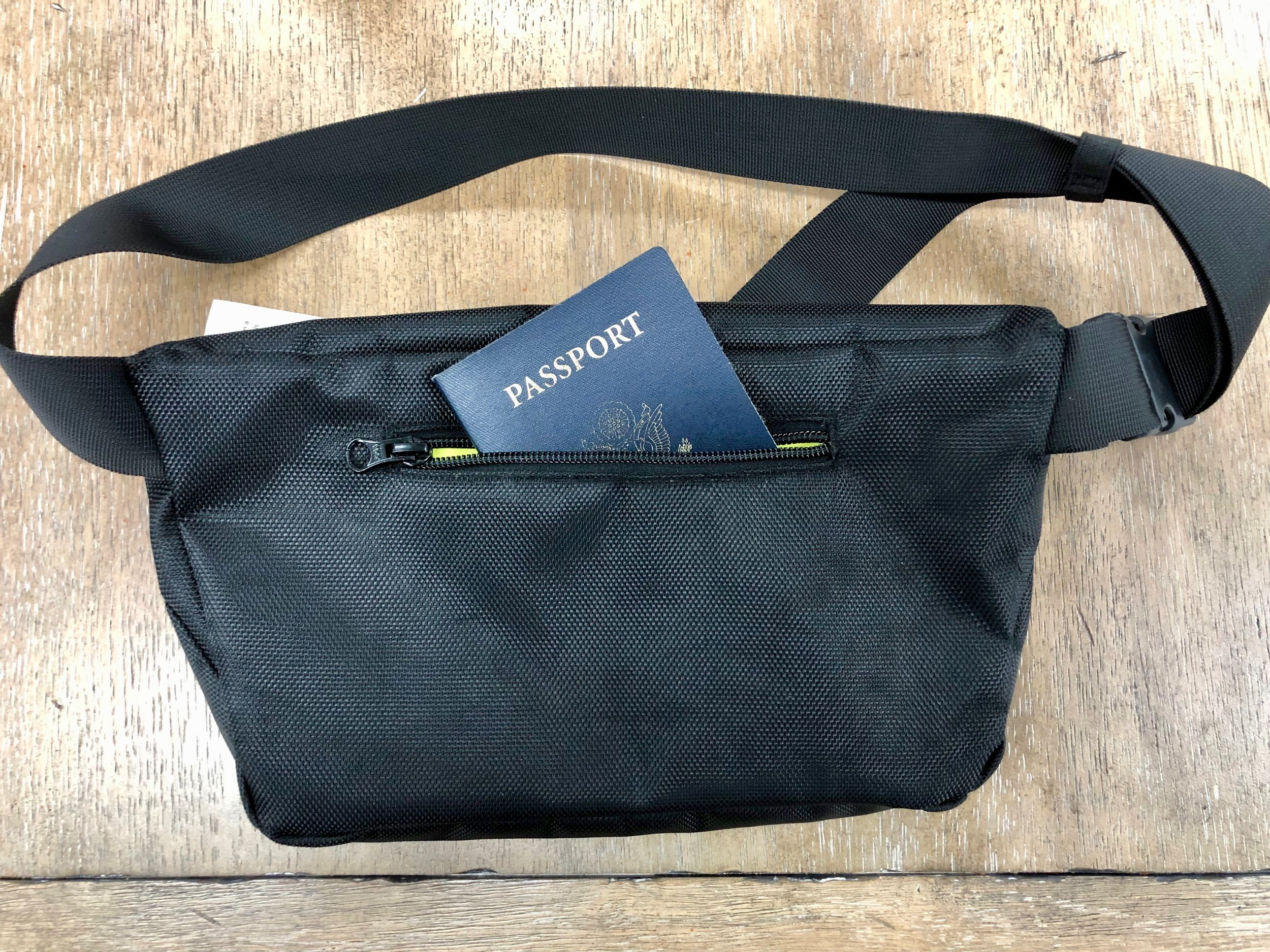 We almost missed this secret pocket. It's perfect for a passport and it's on the back side of the bag, close to the body.