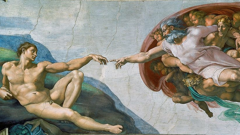 The Creation of Adam   , by Michelangelo (c. 1512) - Wikimedia Commons (Public Domain)