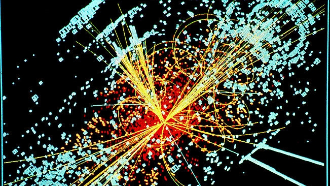 A  simulated Higgs event , by CERN - Wikimedia Creative Commons ( license )