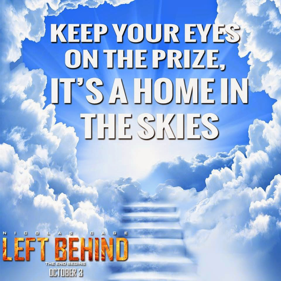 Here's a cultural example of the mindset I am describing: A promotional image for the 2014 film  Left Behind , starring Nicolas Cage.