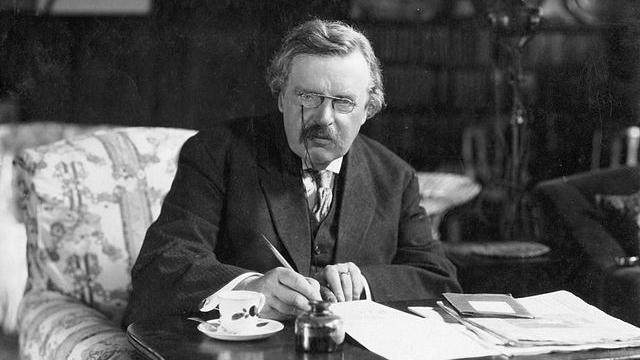 G.K. Chesterton at work  (c. 1900) - Wikimedia Commons (Public Domain)