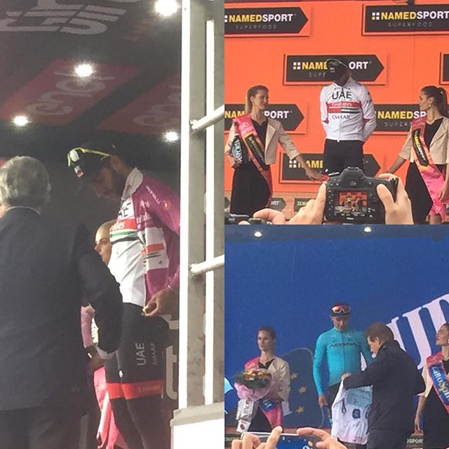 Our man on the ground is already providing pictures. What a messy ending but here is @fernandogaviriarendon getting the #magliaciclamino and @miguelsuperlopez getting the #magliabianca #giro2019 #giroditalia