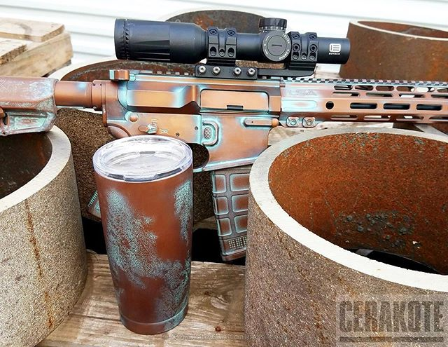 More than just firearms: imitation antique copper patina Cerakote on this tumbler and TX15.  #Cerakote #AR15 #TX15 #copper #antique #copperpatina #Custom #FortWorth