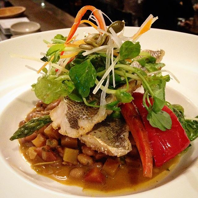 Pan Fried Snapper Fillets on White Bean Stew with Pea Shoot Salad and Heirloom Carrots #foodspecials #special #foodporn #fish #yummytummy #omnomnom #torontofood #torontorestaurants #junctionto #junction #rouxstir