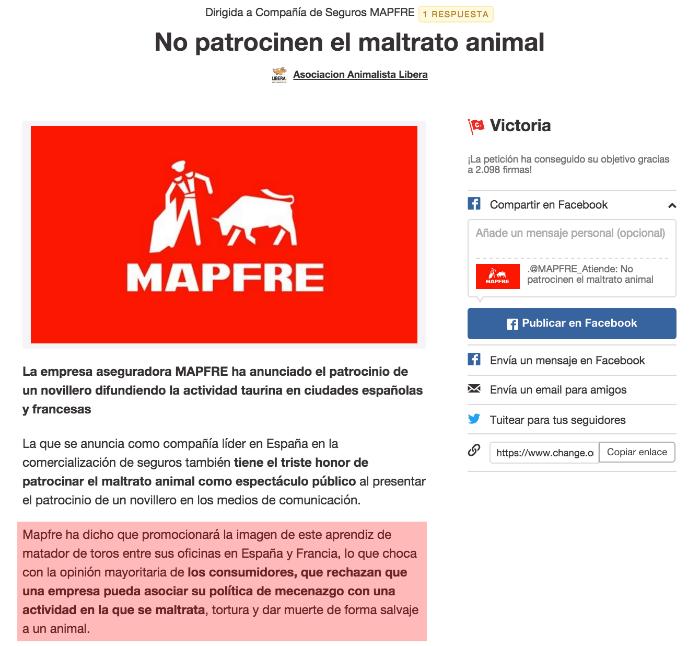 Petición dirigida a Mapfre