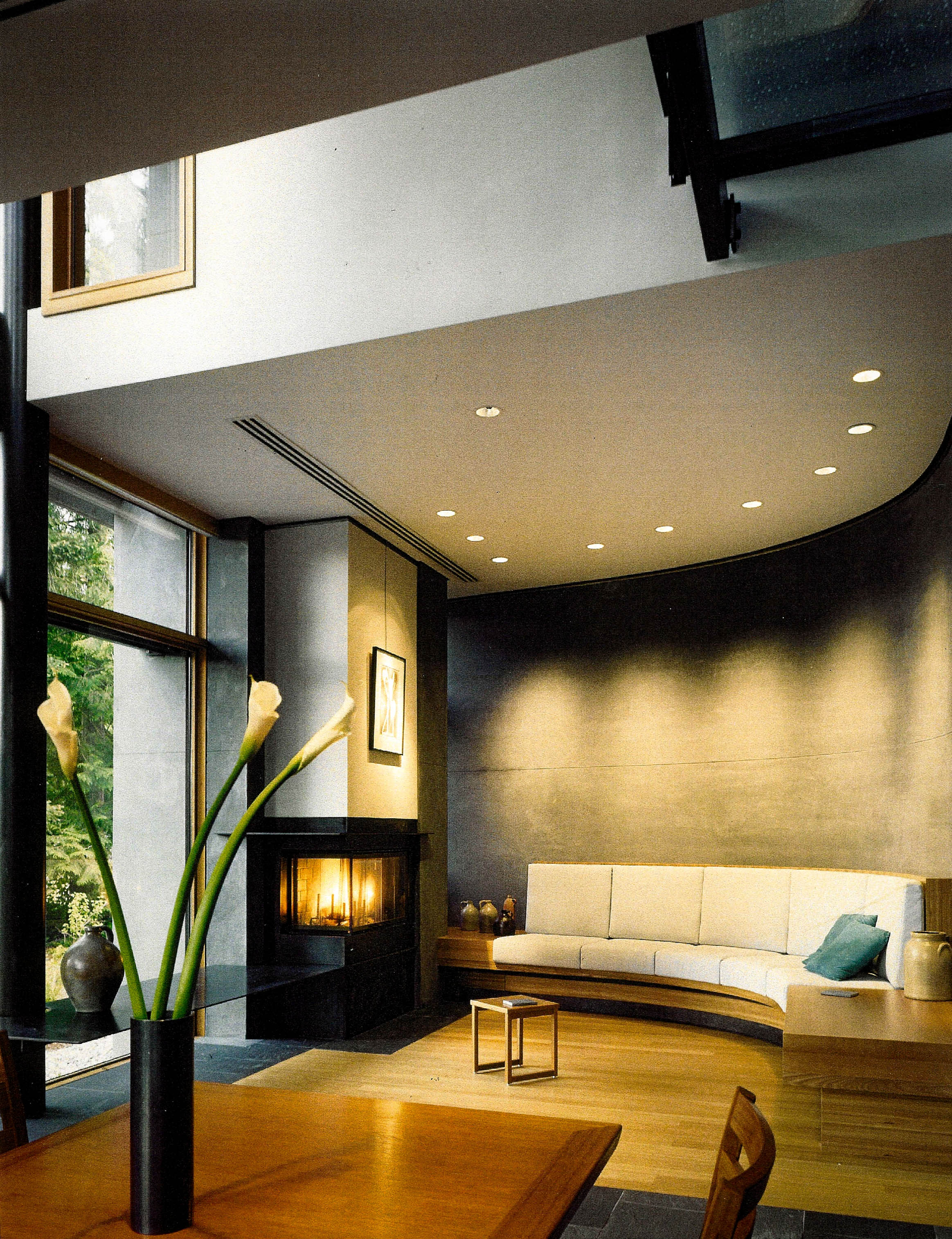 Recessed lighting was designed to highlight the built-in custom designed furniture.