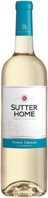 Sutter Home Pinot Grigio  - with notes of honeysuckle and lime, this wine sports medium acid with a high-ish tasting alcohol content, rounded out with flavors of peach and cantaloupe