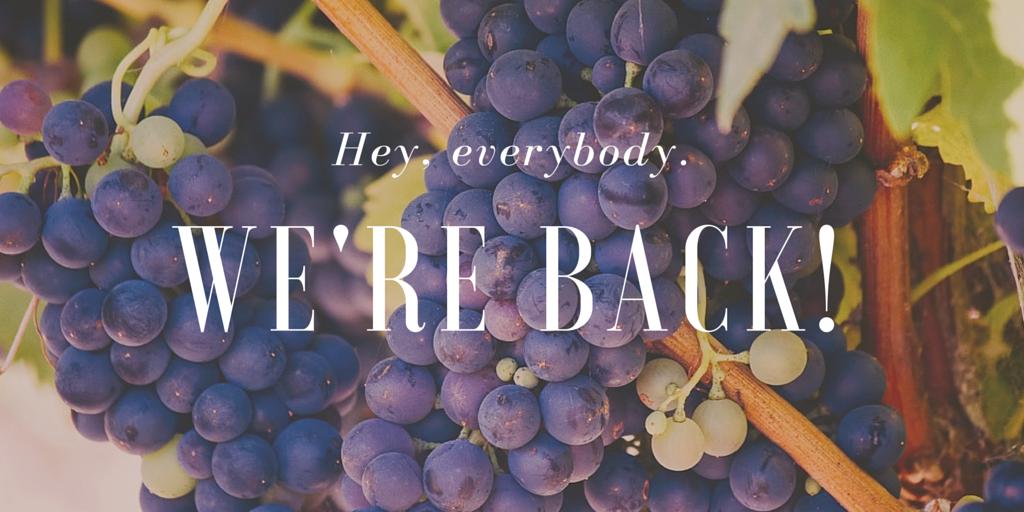 hi, we're back!
