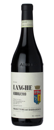 Produttori del Barbaresco Nebbiolo Langhe DOC 2010 ($18.99) - A bargain every day table red, perfect for lunch or a light dinner of cheese and antipasti. It's supposed to be lighter than its Barbaresco cousin, but I find it has more flavor and depth. It's very leathery, with a touch of earth combined with fresh red fruits and a bit of menthol, which really makes it stand out.