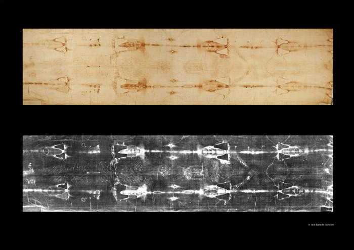 ABOVE: ACTUAL SHROUD OF TURIN - DISCOVERED TO BE NEGATIVE IMAGE IN 1898 WHEN FIRST PHOTOGRAPHED (LIGHT AND DARK COLOR REVERSED)  BELOW: NEGATIVE IMAGE - DISCOVERED TO BE POSITIVE IMAGE IN 1898 WHEN FIRST PHOTOGRAPHED  THIS FIRST SCIENTIFIC DISCOVERY BEGAN A FIRESTORM OF CONTROVERSY AND IS ONLY ONE OF THE AMAZING PROPERTIES OF THE IMAGE THAT HAVE NEVER BEEN EXPLAINED OR REPLICATED AS IT IS ON THE SHROUD OF TURIN.