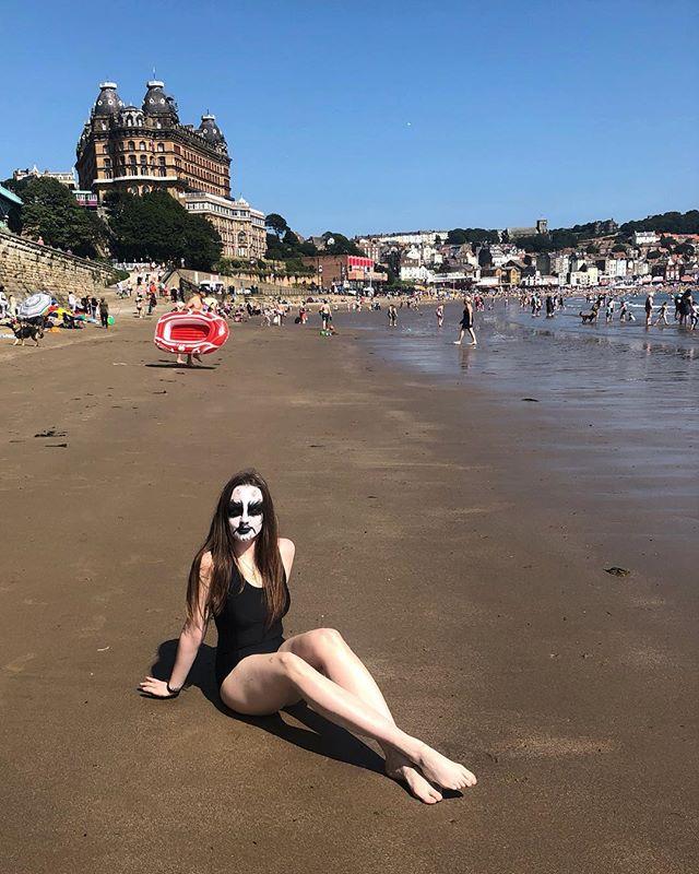 Scarborough Faire. 🖤🖤🖤 . . . . . #corpsepaint #summervibes #blackmetal #seaside #metalheadgirl