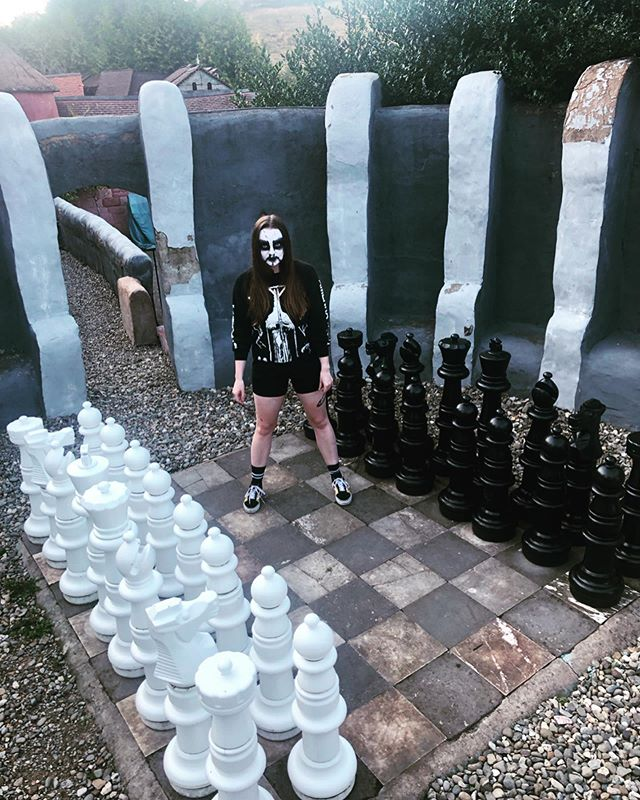 Anyone want to play with me? 🖤🖤🖤 . . . . . #corpsepaint #chess #blackmetal #metalheadgirl #checkmate