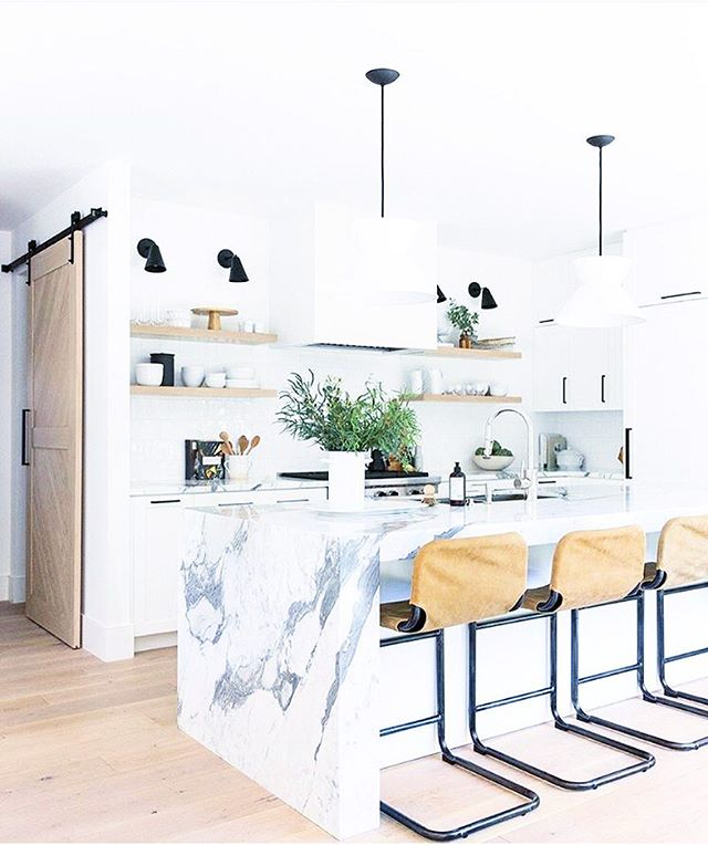 pinch me.  started the process to [hopefully] remodel a new home, and my hubs and i have been developing our must-have list. personally, i drool over waterfall kitchen islands like this - can anyone agree? x @studiomcgee