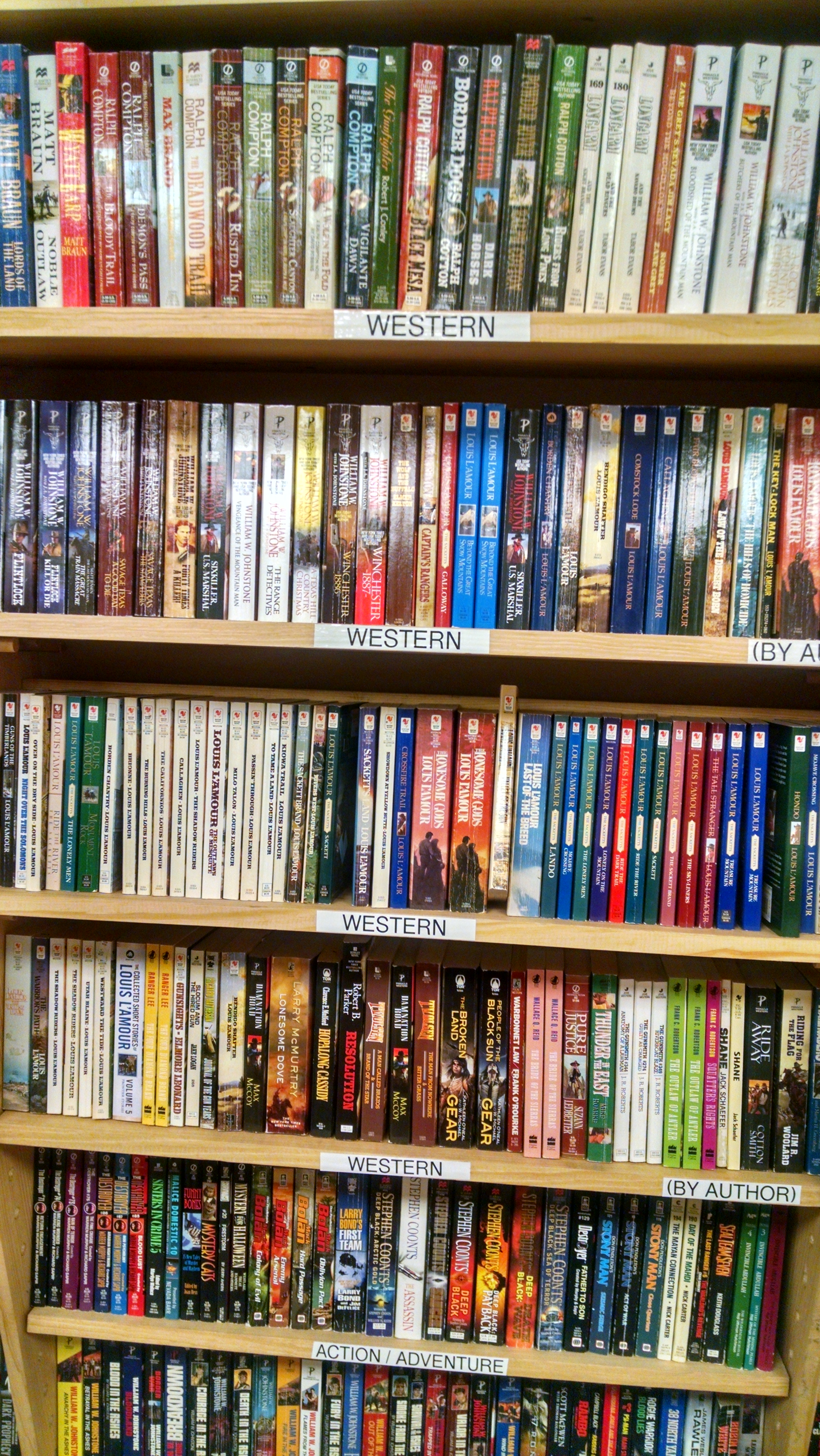For real. It's a western section. (This is not common in all bookstores. Trust me.)Yeehaw!