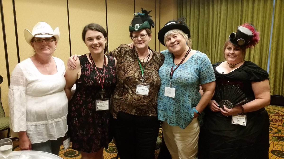 L to R: Linda Bradley, me, Rue Allyn, Donna MacMeans, and Cindy Spencer Pape at the Romancing Time meet and greet.