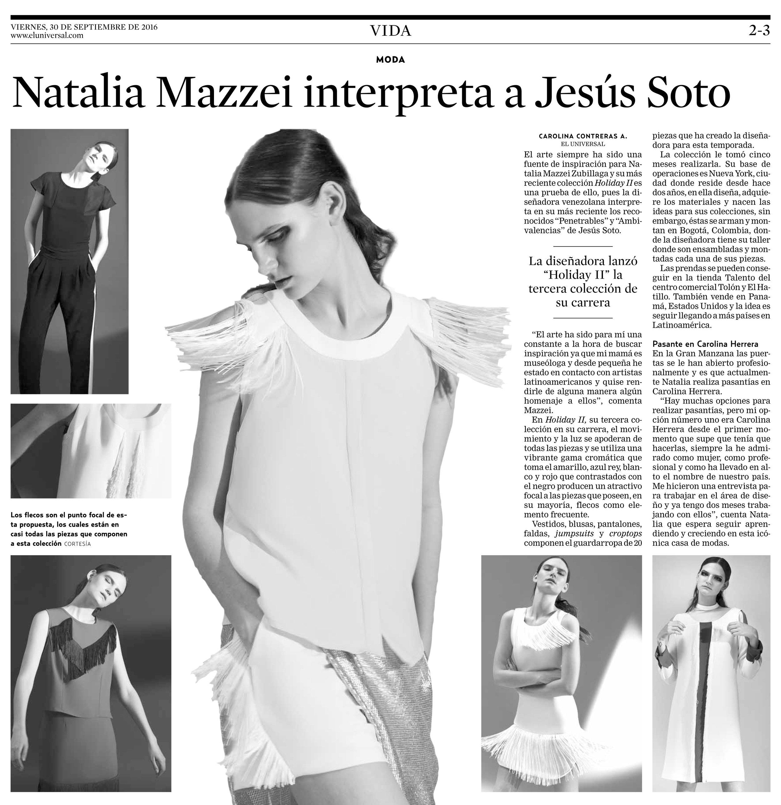 Diario EL UNIVERSAL - Septiembre 2016