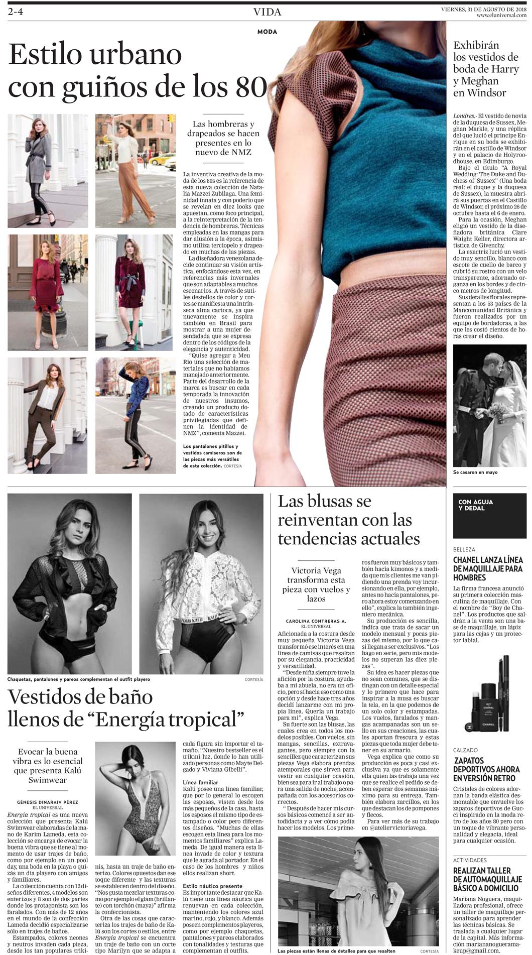 Diario EL UNIVERSAL - Agosto 2018