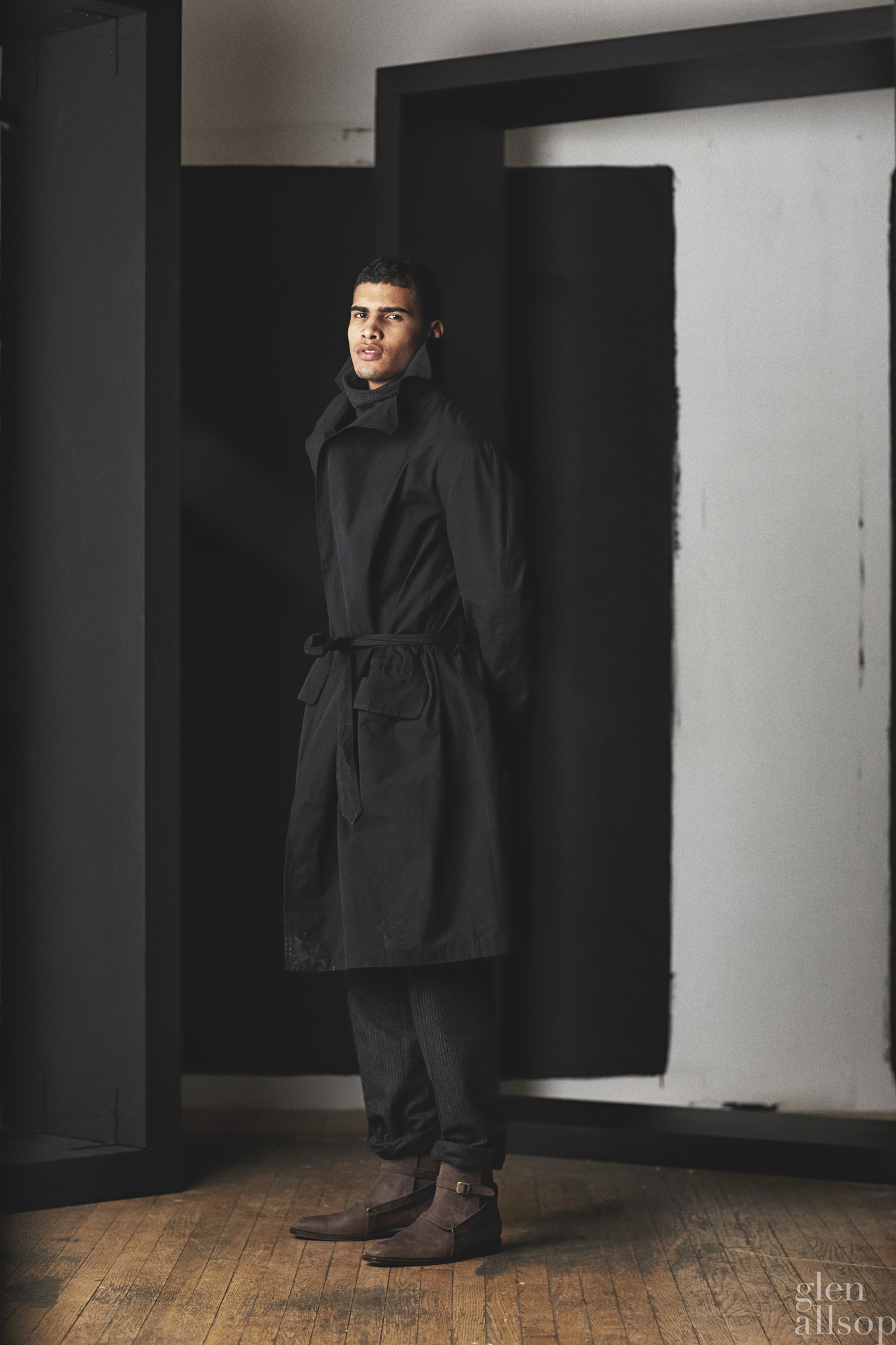 christian kimber-leather boots-black trench-eidos