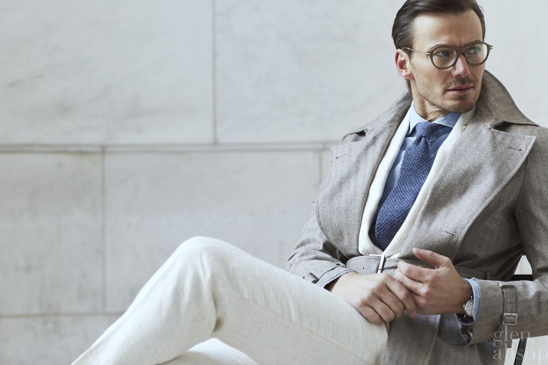 white linen suit-denim shirt-eidos
