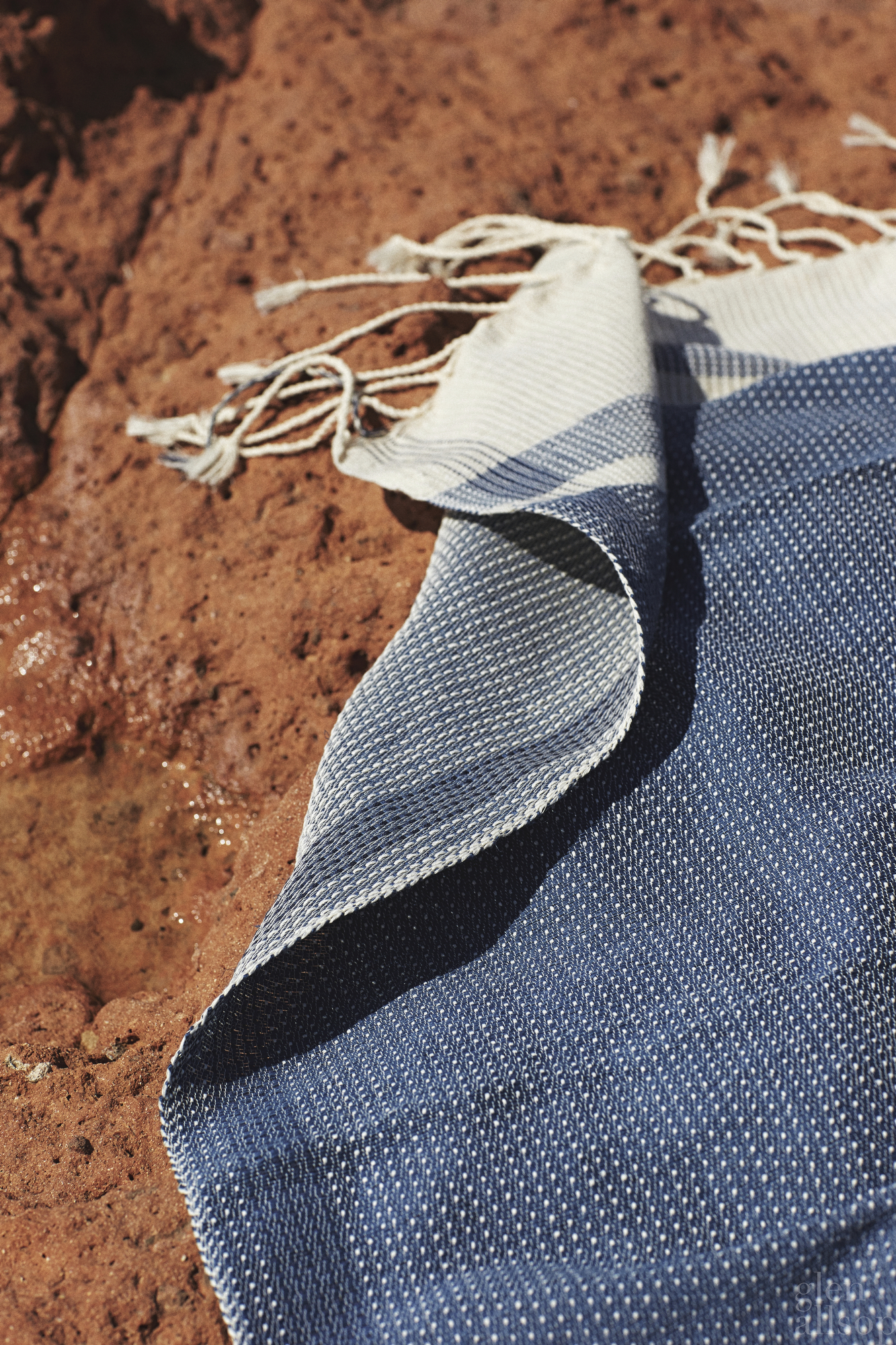 blue woven beach towel-formentera-red rock