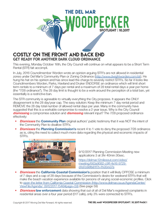 "Spotlight 10/2017 - ""Costly on the front and back endGet ready for another dark cloud ordinance"""