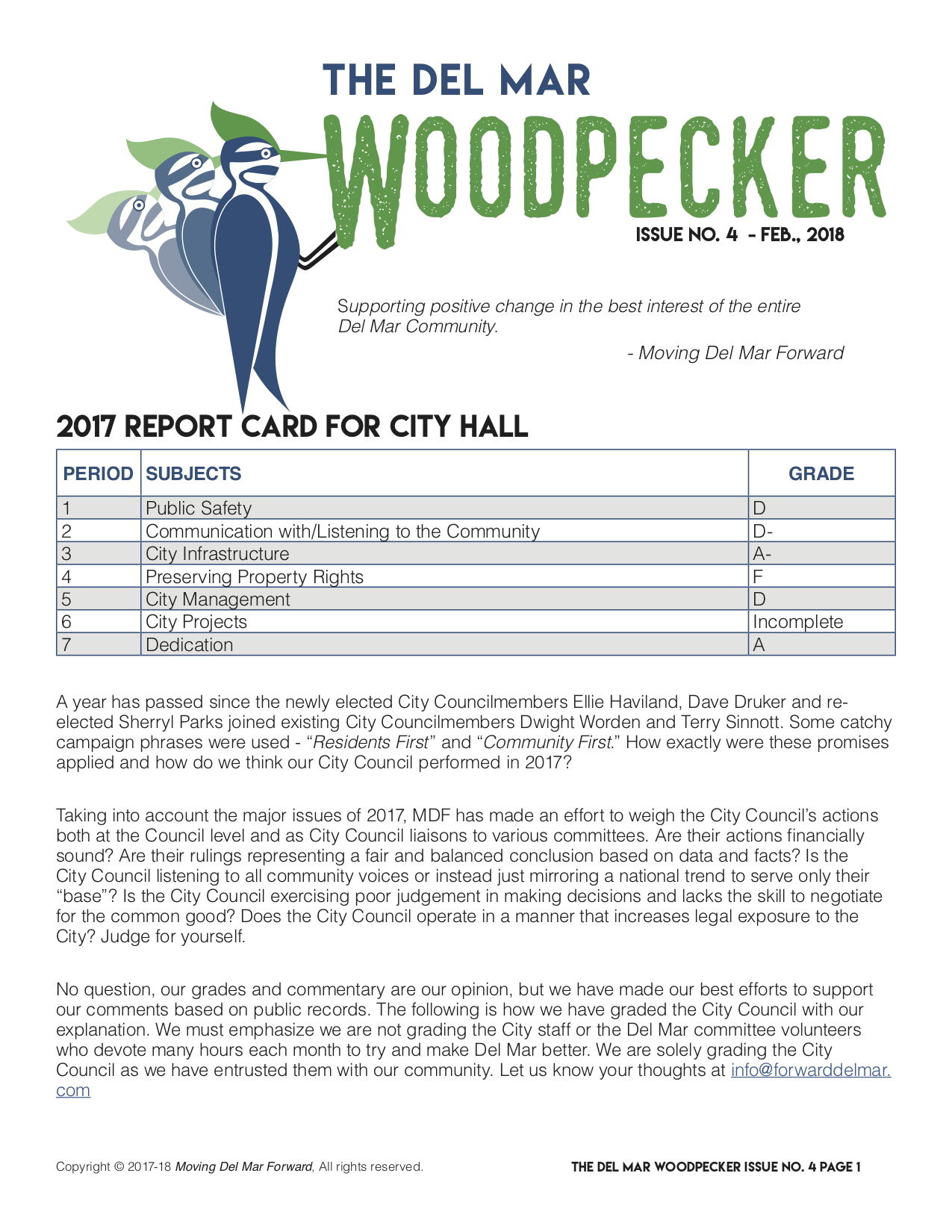 ISSUE NO. 4 February 2018 - 2017 Report Card for City Hall