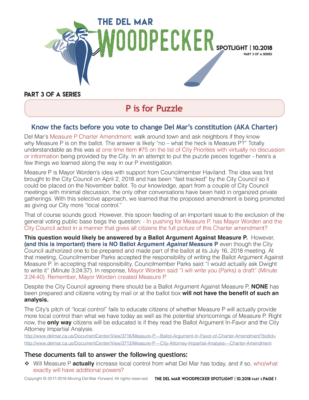 "Spotlight 10/2018 Part 3 of a Series - ""Know the facts before you vote to change Del Mar's constitution (AKA Charter) - Measure P P is for Puzzle"""