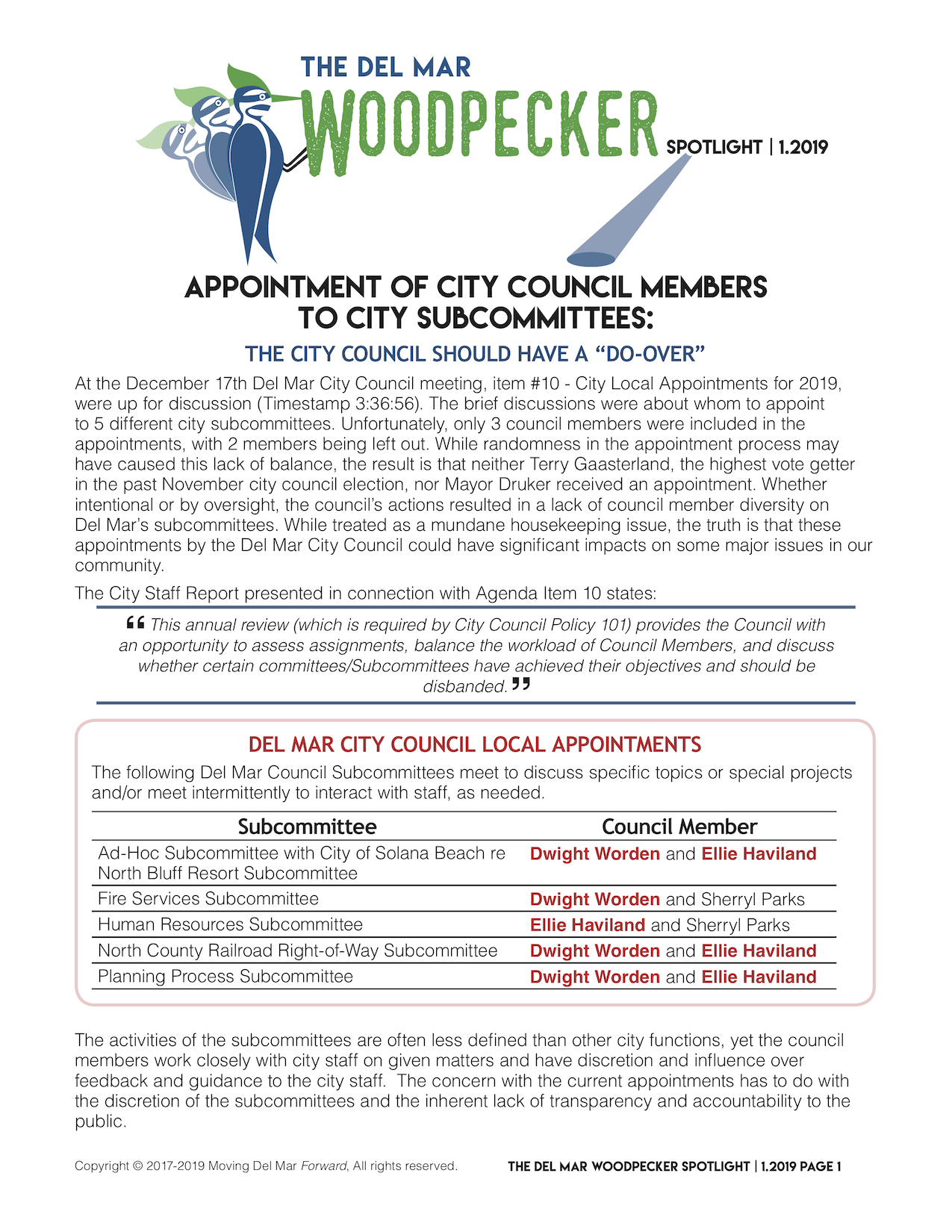 "Spotlight 1/2019 - 'APPOINTMENT OF CITY COUNCIL MEMBERS TO CITY SUBCOMMITTEES:The city council should have a ""do-over""'"