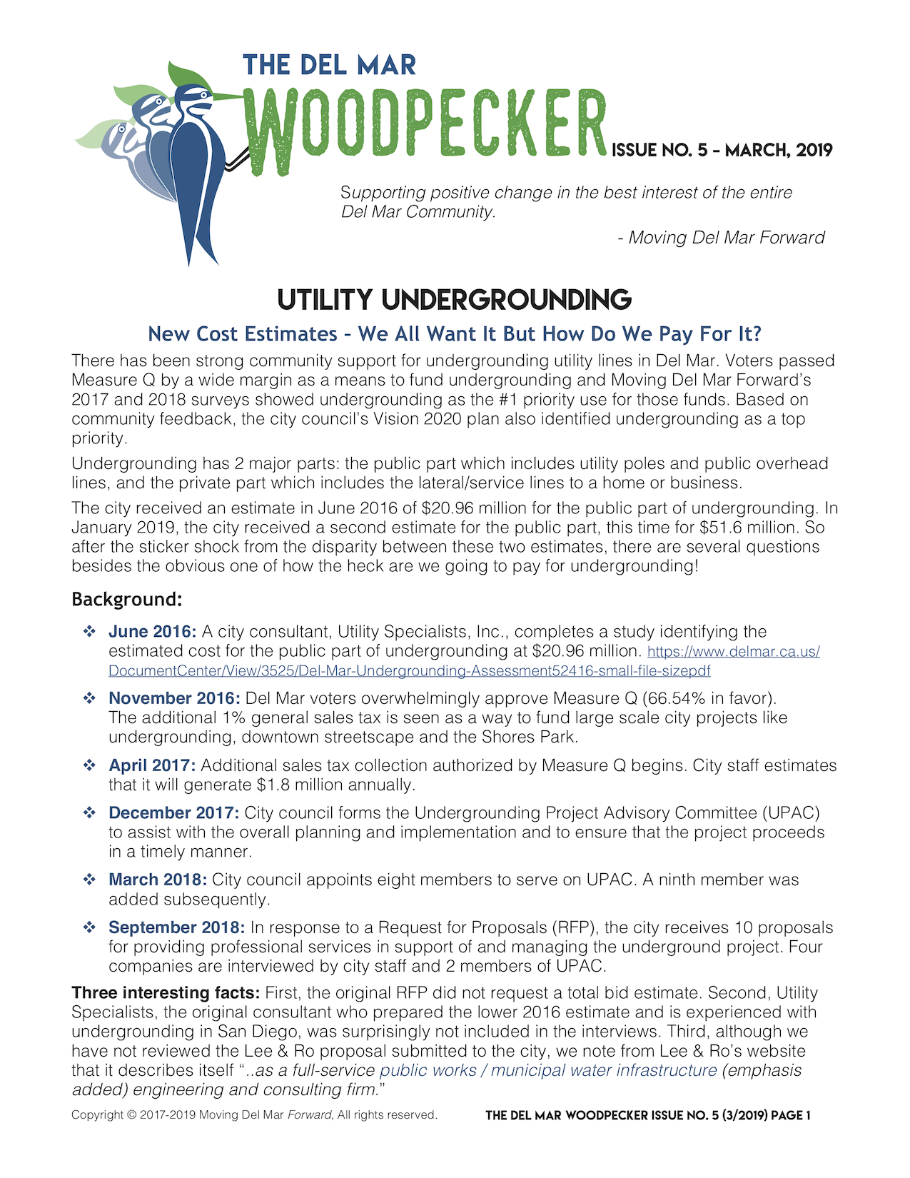 "ISSUE No. 5March 2019 - UTILITY UNDERGROUNDING""New Cost Estimates – We All Want It But How Do We Pay For It?""Subcommittee Update"
