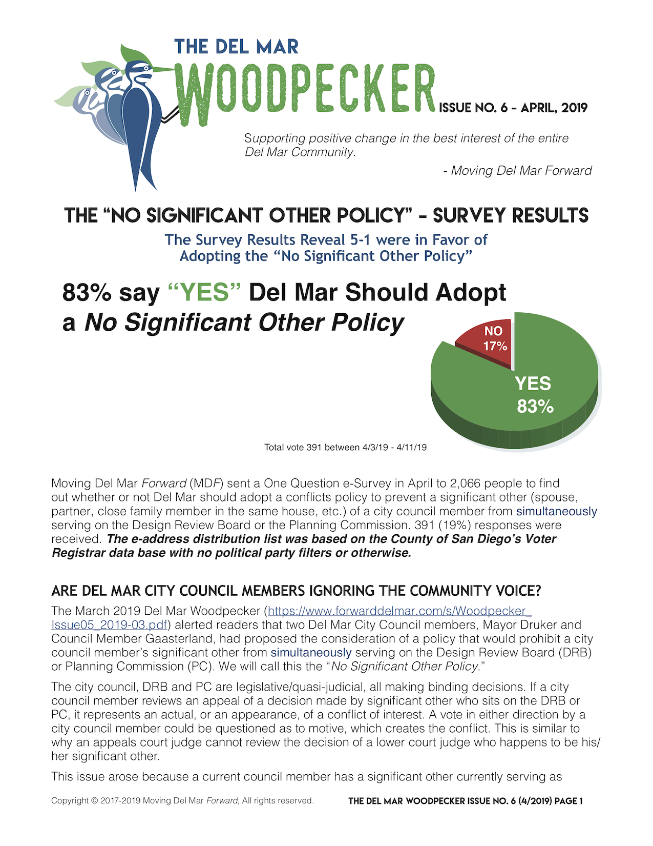 "ISSUE No. 6April 2019 - 83% say ""YES"" Del Mar Should Adopta No Significant Other PolicyNotice of Public Hearing Regarding Proposed Water, Wastewater, and Clean Water Rates (increase)"