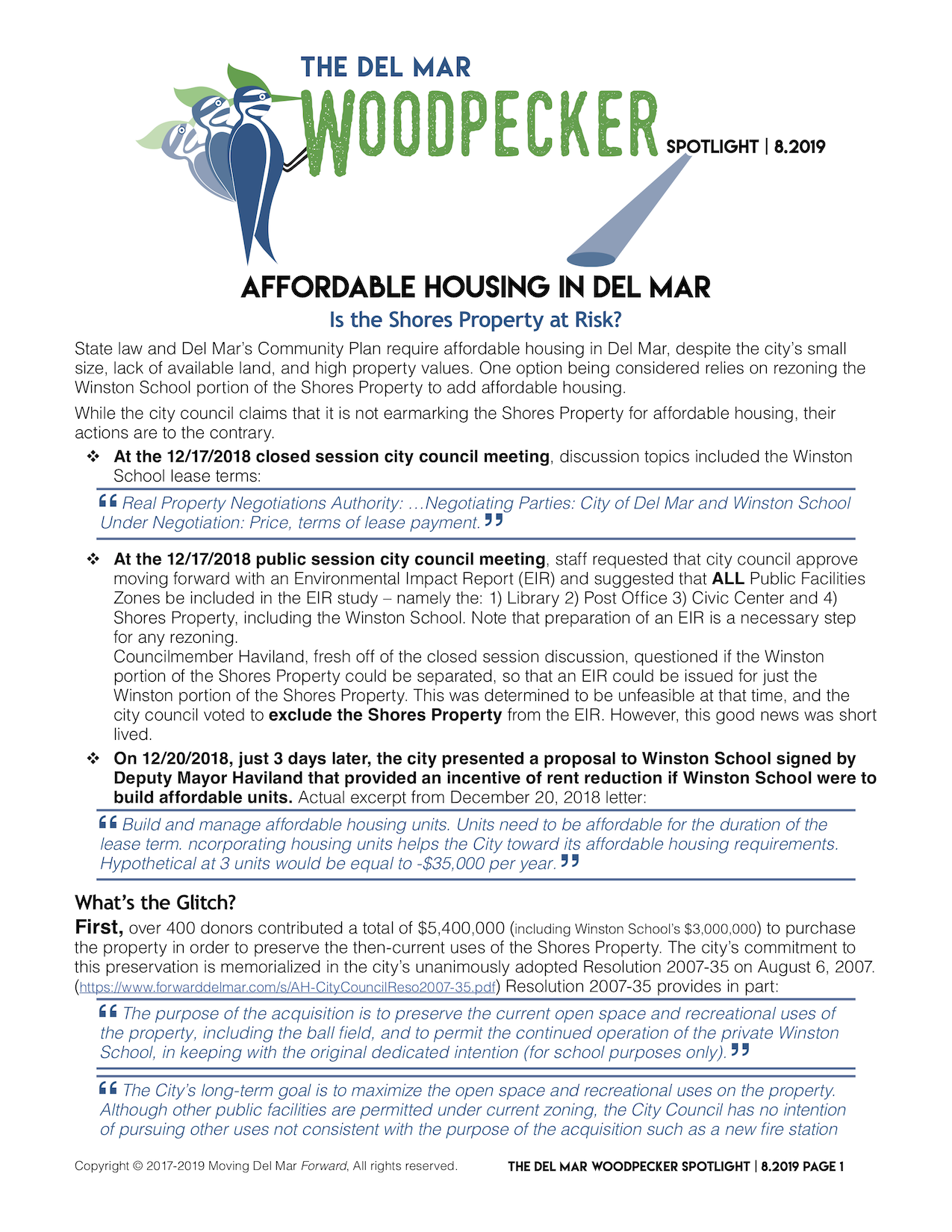 "Spotlight 8/2019 - ""AFFORDABLE HOUSING IN DEL MARIs the Shores Property at Risk?"""
