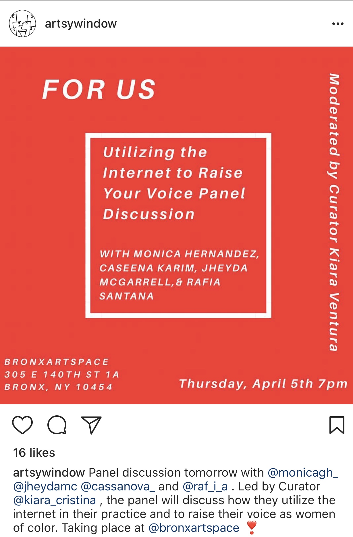 """Screenshot of artist panel talk for women of color in the exhibition """"For Us,"""" Spi(Cy-Fi)lms was part of free programming for the month-long exhibition."""