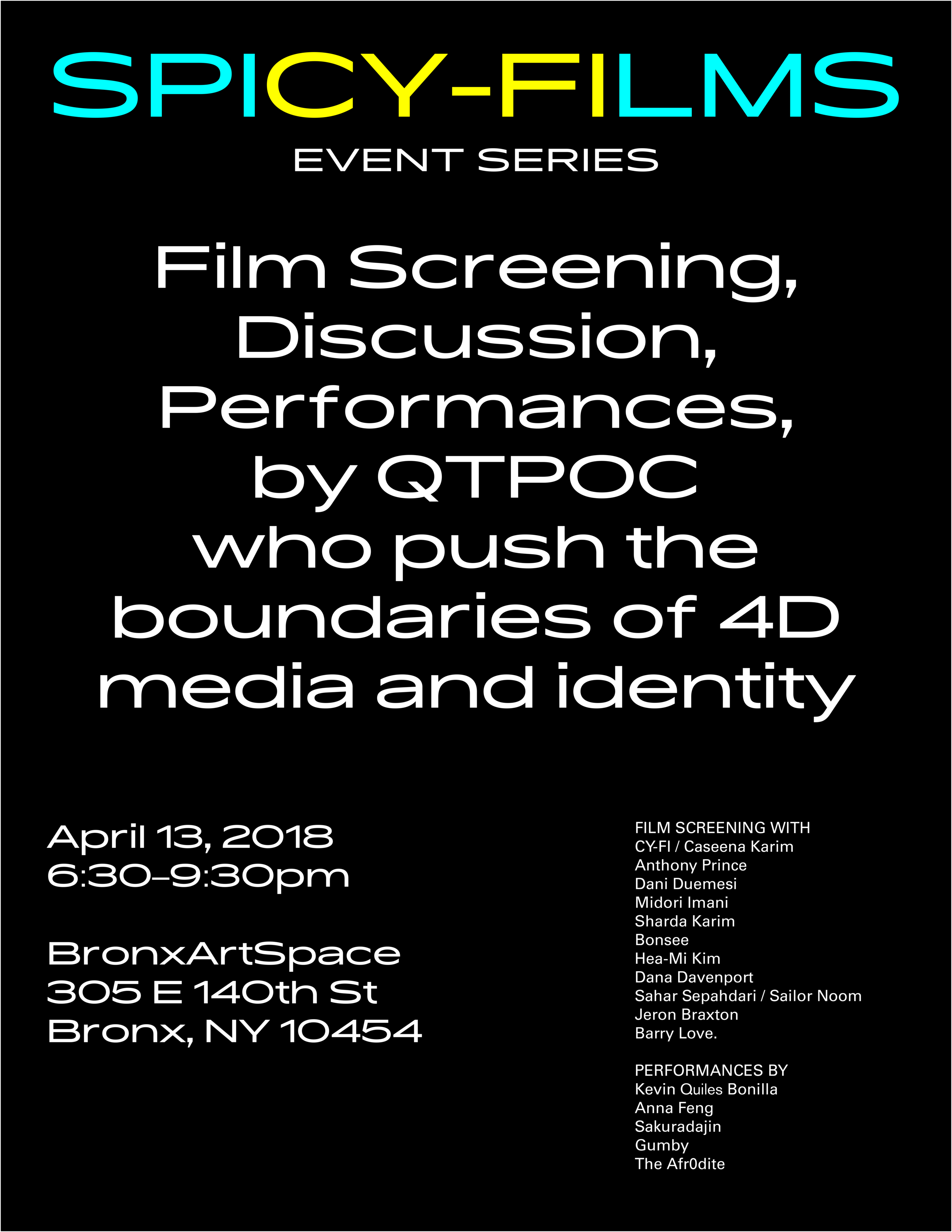 Poster for Spi(Cy-Fi)lms with artists featured, designed by Anna Feng.