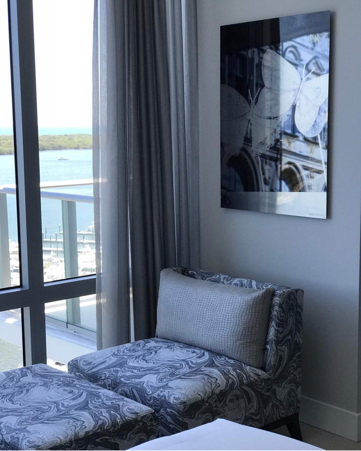Image from Hermès, in Turin, Italy installed in a guest bedroom in Palm Beach.