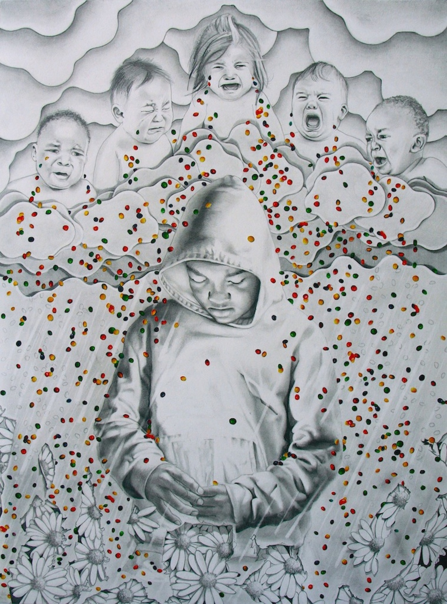 "Study for ""Little Colors Made Of Tears"" Graphite & Mixed Media on Paper. 18"" X 24"""