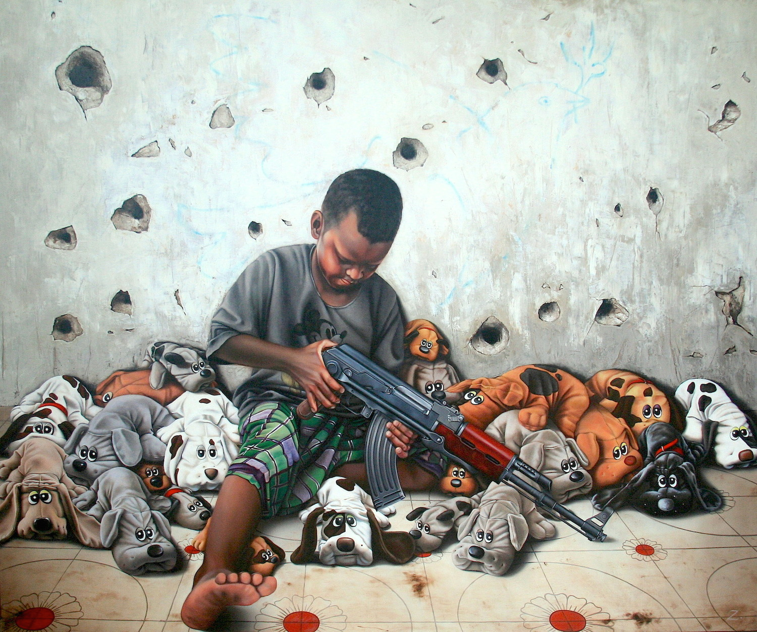 """Too Many Puppies"" Oil on Linen. 50"" X 60"""