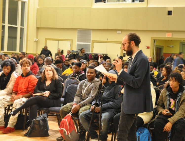 Eli Plenk, OurRJ Program Manager,advocated in front of the Massachusetts Black and Latino Caucus on December 20 for juvenile justice and school discipline reform.