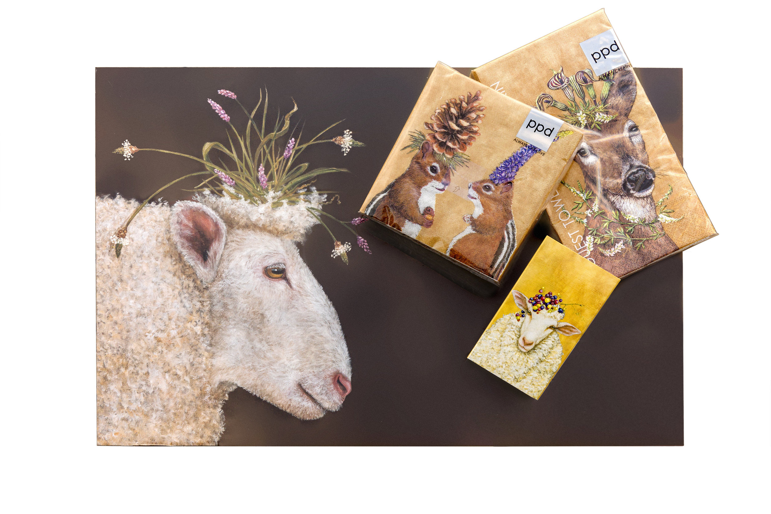 Consider paper for your holiday table - Keeping true to our store's Winter Woodland theme,why not use HC Gertrude paper placemats and accent napkins to make your holidays easy and whimsical! Matchbooks also available!