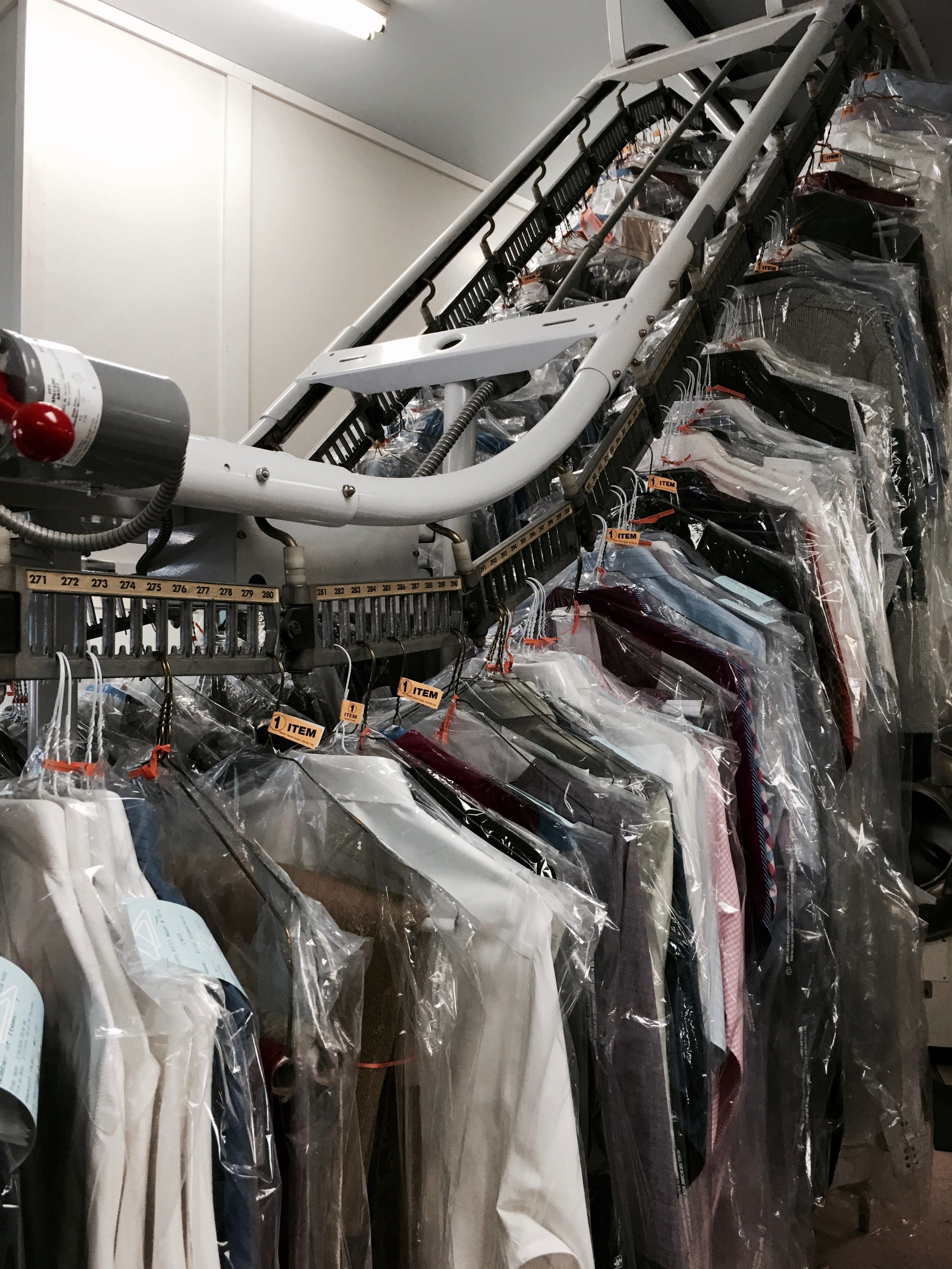 hundreds of dress shirts are cleaned and pressed every month!