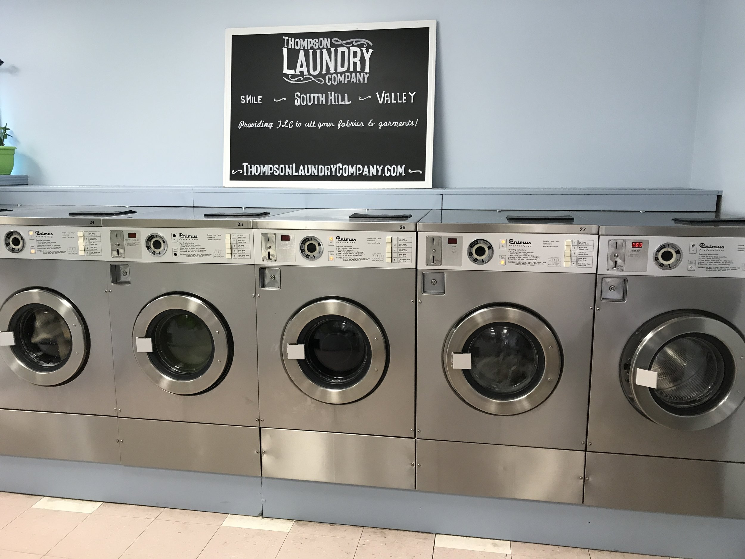 Plenty of top load and front load machines and dryers of all sizes.