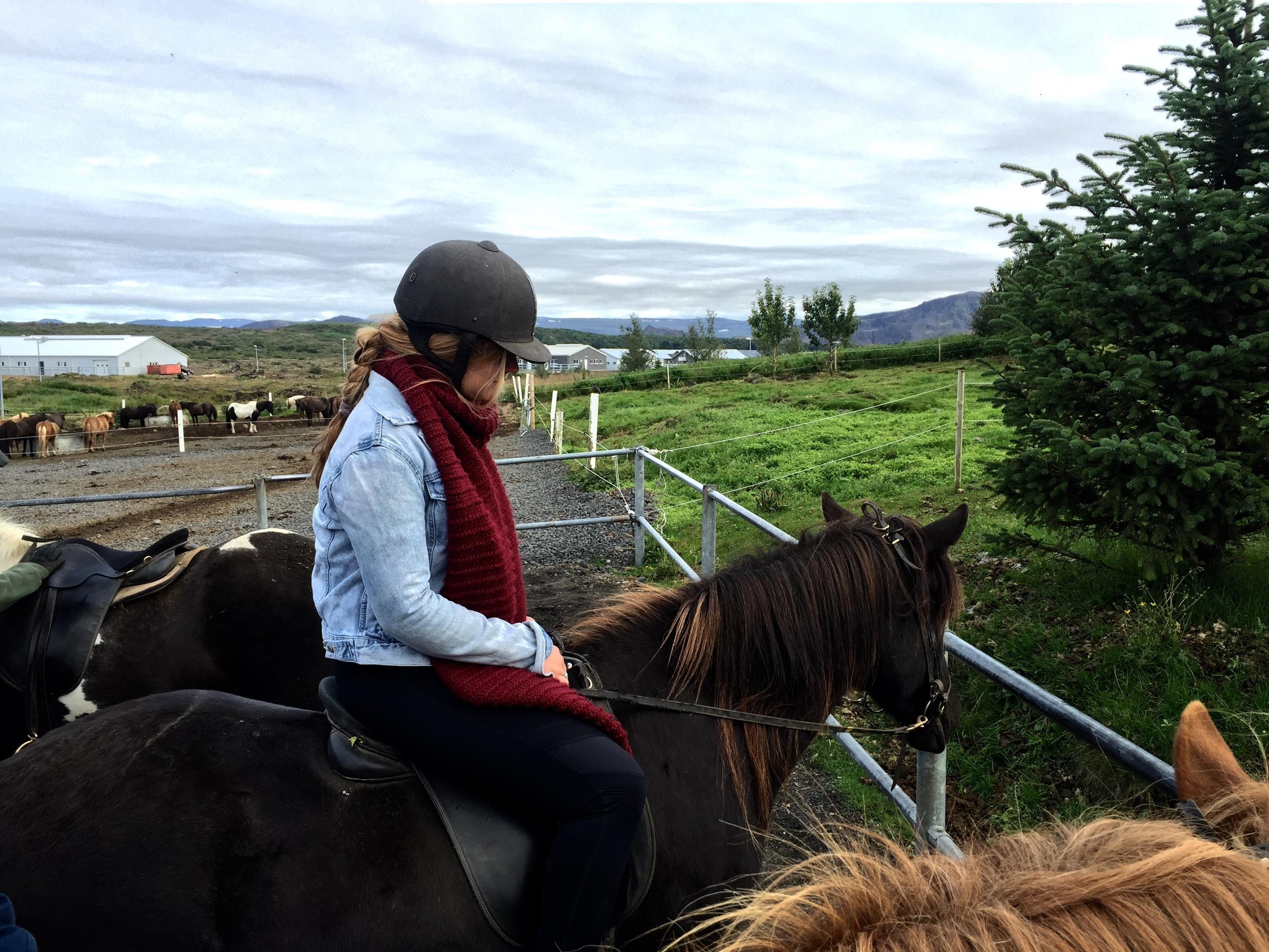 Krista on her Icelandic Horse, Hafnarfirði, Iceland