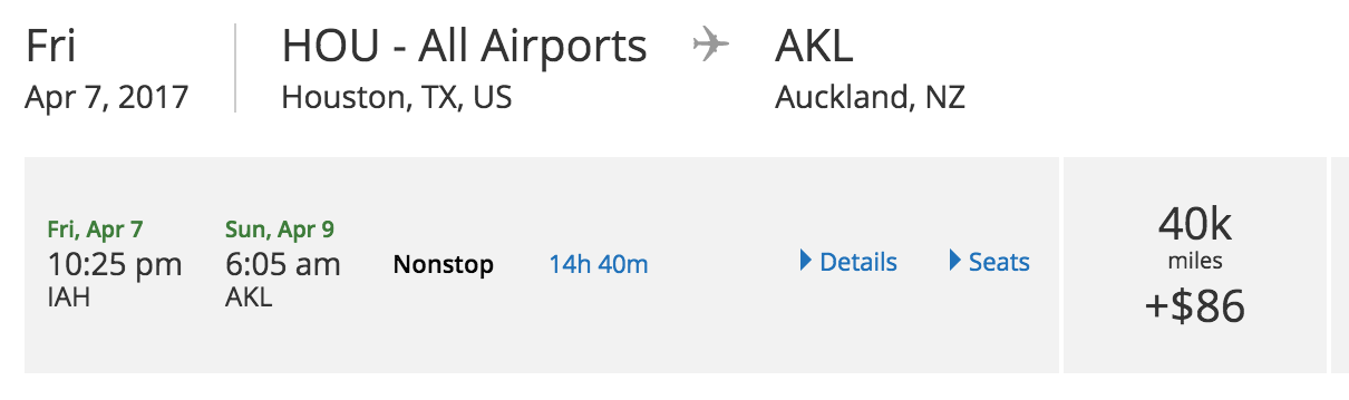 Houston to Auckland