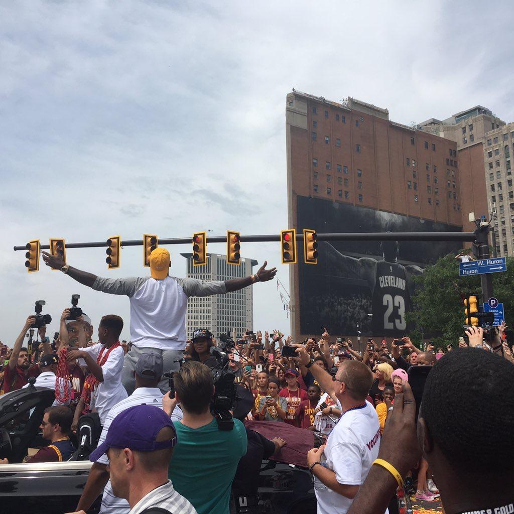 June 22, 2016. Downtown Cleveland. #cavsparade Photo: a fan.