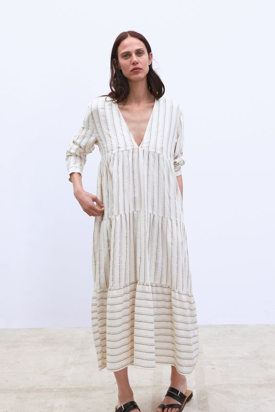 Love the stripe placement on the tiers on this Zara dress.