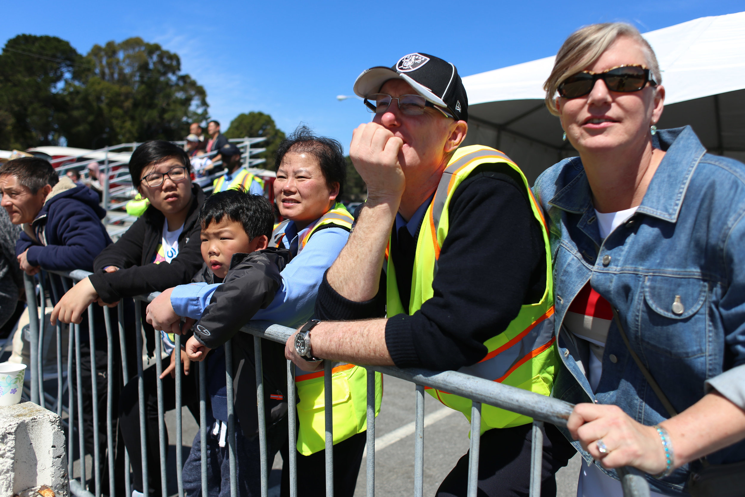 SFMTA operators, family members and friends watch SFMTA operators compete in San Francisco's 31st bus road-eo where bus operators compete in a series of driving and safety test including an obstacle course showcasing the drivers best skills at Cow Palace Saturday, April 2, 2016. Winners of the competition advance to the American Public Transportation Association International Road-eo. (Emma Chiang/Special to S.F. Examiner)