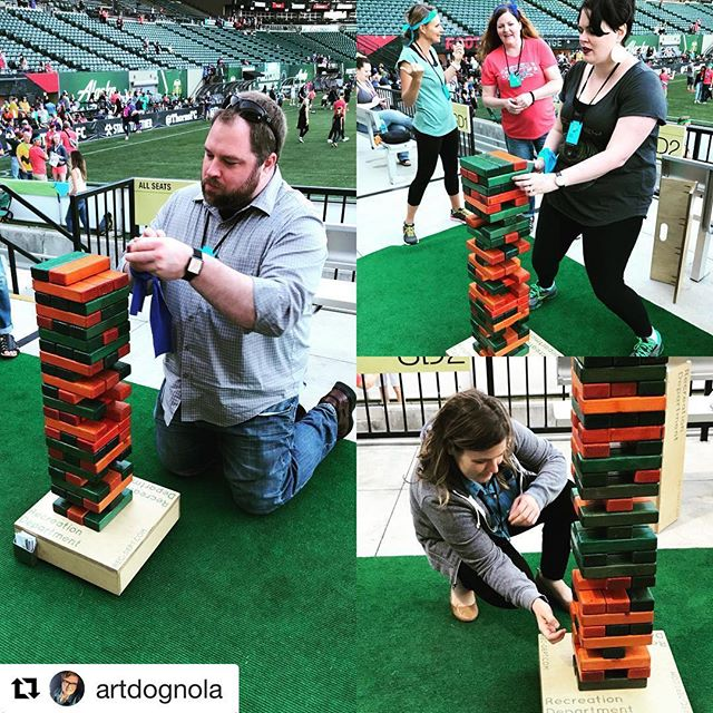 Fun times at The World Domination Summit opening party last night. Thanks for playing @artdognola!  #Repost @artdognola with @get_repost ・・・ Jenga! Field Day opening party at #wds2018 #providencepark #fridaynightlights #giantjenga