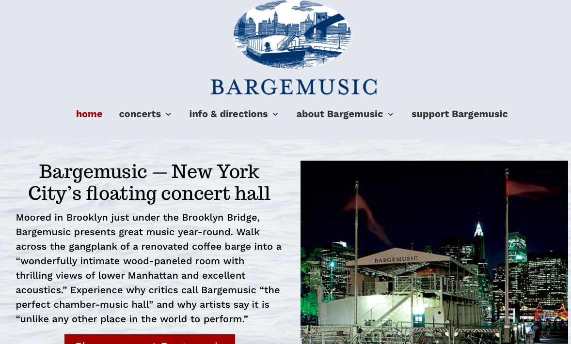 https://www.bargemusic.org   August 9, 2019