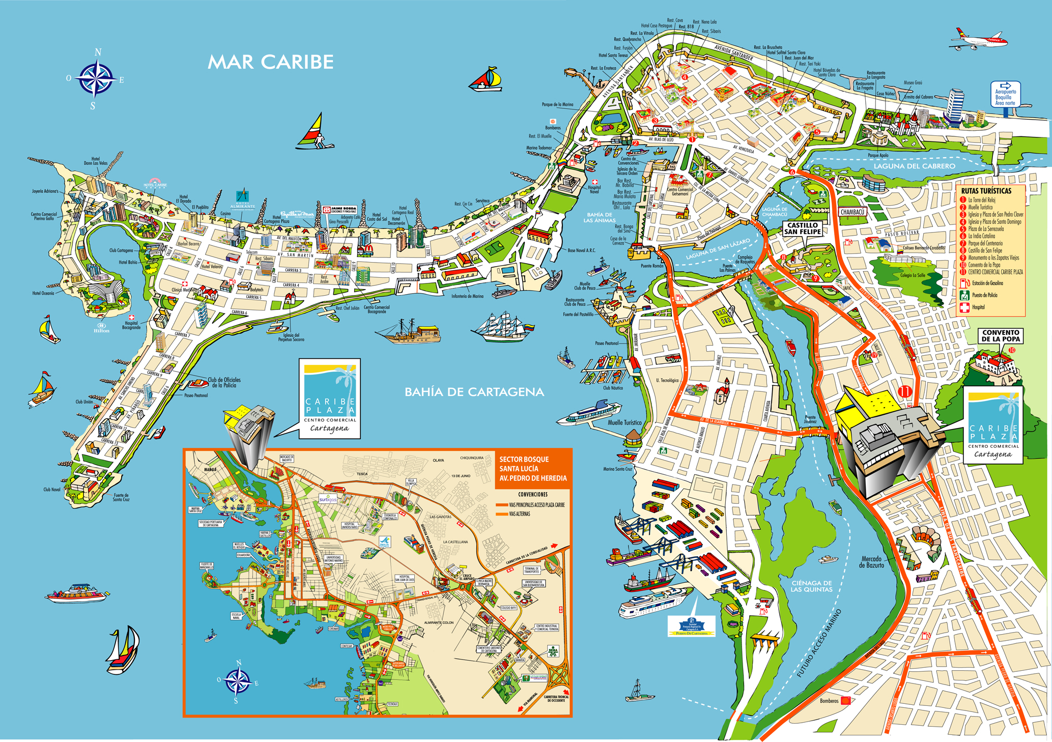 Cartagena - OldTown is the hump up top, surrounded by the yellow wall; Bocagrande is the peninsula that sticks out to the west, north/west of Bahia de Cartagena
