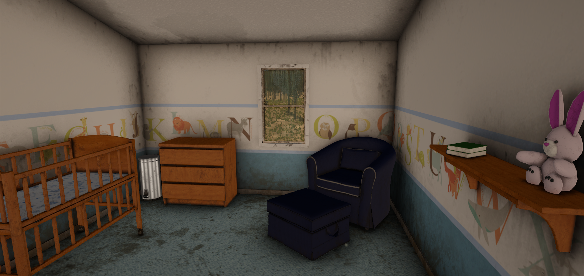 Bedroom 2, after. With GI Proxy. You can see this makes a huge difference with metallic objects like the garbage can.